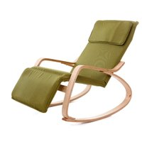 adjustable wood chair - Modern Rocking Chair Fabric Cushion Natural Finish Adjustable Footrest Garden Furniture Comfortable Relax Lounge Chair Recliners
