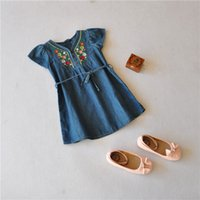 wholesale blue jeans - 2015 Summer Wear Hot Selling Baby Girl Brand Embroidered Flower Dress Princess Kids Short Sleeve Jeans Wash Blue Skirt Clothing