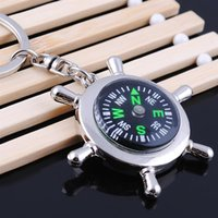 Wholesale Men compass keychain creative alloy Creative Marine steering wheel keychain compass keychains men multi function practical small keychains