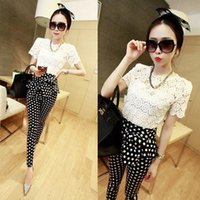 women ruffle pants - 2015 Big Girls Lady Set Lace Hollowed T shirt Tank Top Bow Pencil Pants Suit pc Outfits Leisure Style Women Sets Lady White K4708