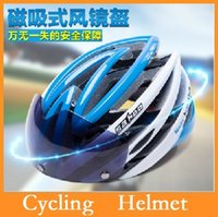Wholesale SAHOO Cycling Helmet New Magnetic Goggles Mountain Road Bike Bicycle Helmet Safety MTB Helmet Polarized Sunglasses Lens