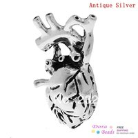 antique champagne flutes - Fashion Jewelry Pendants Charm Pendants Human Anatomical Heart Antique Silver mm x mm B32660 yiwu silver plated champagne flutes