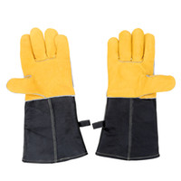 Wholesale 1 Pairs Comfortable Leather Heat Resistant Cooking Baking Gloves Long Sleeve BBQ Microwave Oven Glove for Kitchen Work