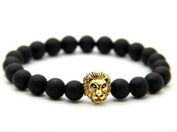 antique rose rings - 2015 New Design Mens Bracelets mm Matte Agate Stone Beads Antique Gold Silver and Rose Gold Lion Head Bracelets