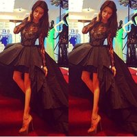 Wholesale 2015 Vintage High Low Black Prom Dresses Custom Made High Neck Floor Length Lace Party Dresses with Long Sleeves Puffy Vestido De Fiesta