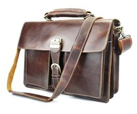 Wholesale 16 quot laptop shoulder bag for men vintage crazy horse leather used top quality big capacity without logo for resell stable stock