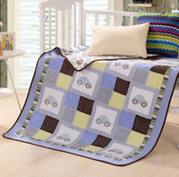 baby cot blankets - sky blue color cot quilts for baby boy small car design blanket style PH052
