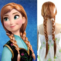 Wholesale Movie Frozen Snow Princess Anna Cosplay Costume Party Full Wigs Classic Halloween Hair Queen Anna Brown Heat Resistant Fiber CM Anime Wigs
