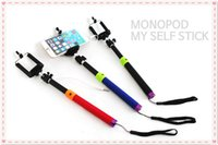 Wholesale 50pcs Wired Self Timer Stick Cable Monopods with Remote Shutter for Camera Cell Phone Extendable Holder for Iphone HTC LG Android System