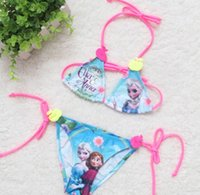 cartoon character - 2015 Summer Elsa Anna Girls Bikini Separates Froze Cartoon Character Princess Children Baby Girl Beach Wear Kids Swimming Suit Blue K3568