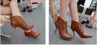 Cheap Women's pointy toe ankle boots women fashion sexy stiletto boots Martin boots black beige brown straps men snow boots
