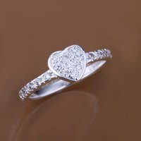 Wholesale Sterling Silver Ring Fashion Inlaid Zircon Heart Ring Silver Jewelry Finger Rings SMTR161