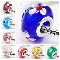 Wholesale 2014 HOT lampwork pretty European Murano Glass Biagi Large Big Hole Rroll Beads Fit For Charm Bracelets Necklace Can be mix color