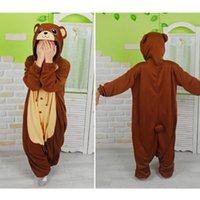adult bear onesie - Brown Bear Onesies Pajamas Unisex Adult Pajamas Cosplay Costume Men Women Animal Onesie Sleepwear Jumpsuit