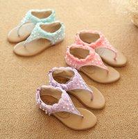 splint - Summer princess sandals rose girls beach shoes pearl lace Children splint sandalse yards baby shoes pairs TP