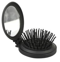 Wholesale Fantastic Beauty Combs Round Foldable Comb with Mirror Massage Brush Hair Comb Black