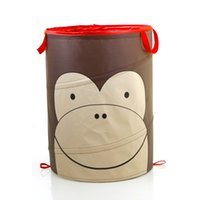 Wholesale 2016 New Arrival Cartoon Owl Bee Blue Dog Monkey Animal Foldable Clothes Toy Laundry Baskets Bin Storage Bag Mesh Storage Basket vhgno9