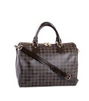 azur fashion - Classic Speedy medium Damier Azur With Strap Women Famous Brand Canvas real leather Handbags Designer Shoulder Bag