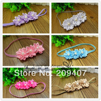 Wholesale Baby Triple satin ribbon flower headbands DIY layered flower with Pearl on skinny elastic Headband