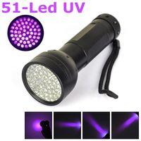 Cheap 51 UV Ultra Violet Flashlight 400nm UV LED Torch Anti-counterfeiting Money Detector Waterproof Flashlight