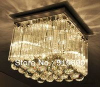 Cheap Chandelier 4 LIGHTS K9 CRYSTAL+Glass THICK BASE Free shipping 110-24V Square Design LIGHT LAMP LIGHTING+High bright LED Bulb E14