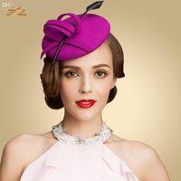 Wholesale Australian Wool Womens Lady Vintage Fascinator Wool Hair Pillbox Hat Bowknot Veil Felt Cocktail Party Wedding Socialite