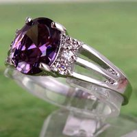 black friday - Cheap for sale Free Ship AR1 Oval Cut Amethyst White Topaz Gems Silver Ring Size A0053 IN STOCK Black Friday