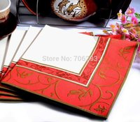 Wholesale 330MMX330MM colored facial tissue paper napkin paper printing handkerchiefs for wedding birthday favors gift with red flower