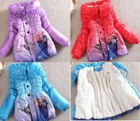 baby winter - 2014 winter outerwear frozen Anna elsa girls long sections cotton padded child baby thicker fleece warm coat windbreak jacket