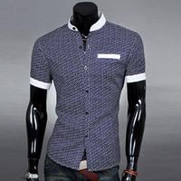 Wholesale 2015 New Hot Summer Style Casual Shirts Men Print Short Sleeve Unique Neckline Slim Fit Shirt Colors M XL