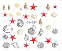 beach scenery - Shell Starfish Design Water Nail Decal Beach Scenery Summer Pattern Water Transfer Nail Stickers Sheet Nude Packing
