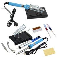 Wholesale 9 in DIY Electric Soldering Iron Starter Tool Kit solder station With Iron Stand Solder Desoldering Pump V W