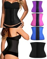 hot shapers - 2015 Sexy Waist Training Corsets steel bone bustiers Rubber trainer Body Shapers Cincher Underbust Plus Size Black Purple Blue Hot Pink C732
