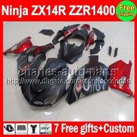 al por mayor carenados zx14r-7gifts negro Piso KAWASAKI NINJA ZX 14R ZX14R 06-13 06 07 08 09 10 11 12 13 C # L560 ZX-14R Rojo negro ZZR1400 ZZR 1400 2006 2013 carenado