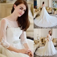 A-Line Reference Images 2016 Spring Summer Grecian Style A Line Ivory Cathedral Train Wedding Dress 2015 Beads Half Sleeve Sheer Lace Bridal Gowns Appliques Corset Back Vestidos W4140