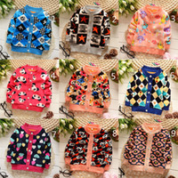 Wholesale 15 Color Children CC Mickey flower cartoon Sweaters new Boys Girls Knitted Cardigan Long Sleeve Single breasted Sweater B001