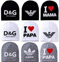 baby hat wholesale - 2015 New Baby s hat Cotton Knitted Warm Beanie Hat for Toddler Baby hat Kids Girl Boy cap I LOVE PAPA MAMA print baby cap
