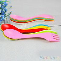 Wholesale 6Pcs Spoon Fork Knife Cutlery Camping Hiking Spork Combo Travel Utensils Gadget SPF