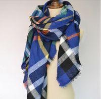 Wholesale New women fashion Pashmina Plaid Scarf Warm Soft Winter Blanket Scarf Oversized Tartan Scarf women Shawl Scarf