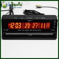 Wholesale 12V V Digital Auto Car Special Style Car In Out Thermometer With Voltage meter and Freeze and Alert and Clock VST V