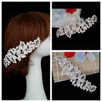 adorn artificial plants - Luxurious Bridal Hair Accesories Floral Artificial Fully Crystal Beaded Adorned Comb Headwear Jewelry Bridal Head Accessories Handmade