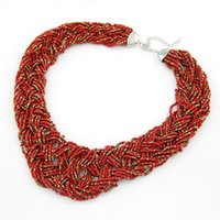Cheap Wholesale-Bohemian Style Fashion Jewelry Seed Beads Necklaces Pendants for Women collares 2015 Choker Statement Necklace colares femininos