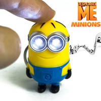 Wholesale 2015 Movie The Minion LED Light Keychain Key Chain Keyring Bob Dave Flashlight Sound I LOVE YOU Despicable Me Christmas Promotion Gift