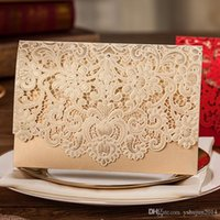 Wholesale 2015 New Wedding Invitation Custom colors Lace Hollow Flowers Wedding Invitations Free Printing Wedding Cards