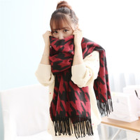 Wholesale Korean New Arrival Unisex Scarf Swallow Gird Pattern Fashion Shawls Thicker Tassles Wrap Keep Warmer
