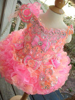 Wholesale NewCute Pink and Orange Ball Gown Girls Pageant Dresses Off the shoulder Mini Short Beading Lace Bows Flower Girl Dresses Real Photos BO6998