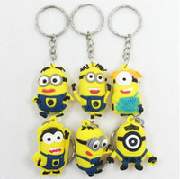 Wholesale 3D Yellow man Minion Doll Keyring Key Ring Kids Toy Gift Birthday Party Favor Eye Small Minions Figure Kid toy Key
