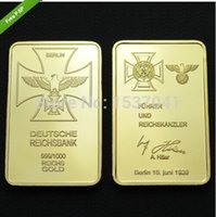 gold bullion - 24K GOLD PLATED german SIGNATURE BAR BERLIN IRON CROSS gold bullion GERMAN EAGLE bullion coin pc