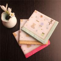 Wholesale Pieces Ladies Handkerchiefs Italian Style Cute Bear Color Cotton Handkerchiefs Napkin Lady Ladies Hankies Baby Small Towel