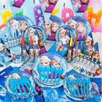Wholesale 2015 New Luxury Kids Birthday Decoration Set Frozen ELSA ANNA Theme Party Supplies Baby Birthday Party Pack frozen party